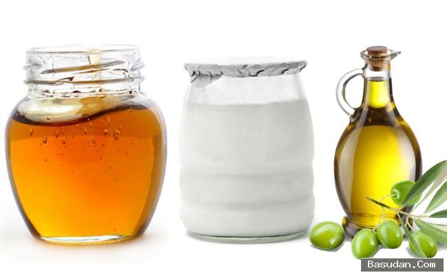 الزبادي العسل وزيت الزيتون لشعر
