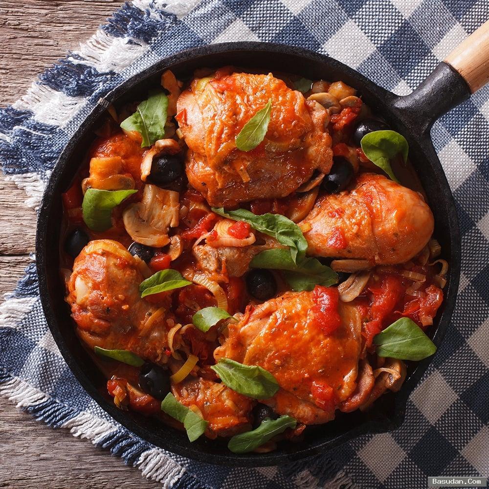 مكونات الدجاج بالريحان والزيتون طريقة